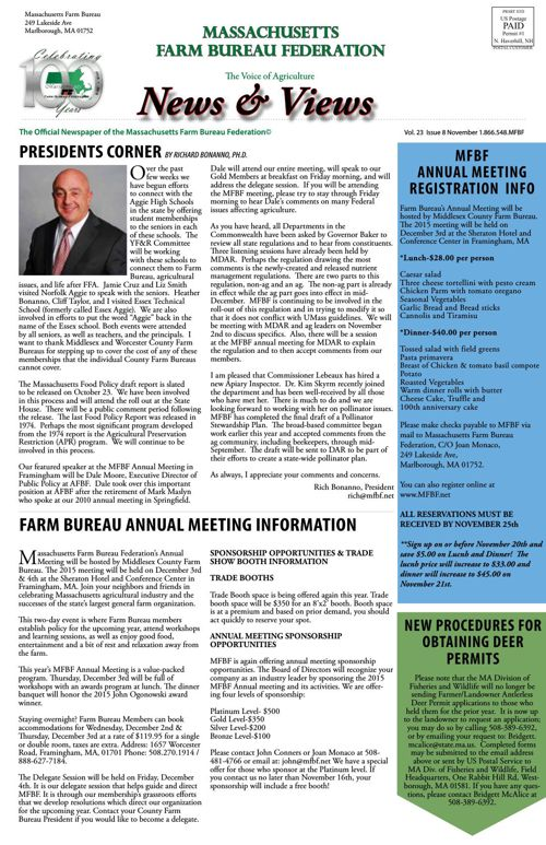 MA Farm Bureau November 2015 News & Views