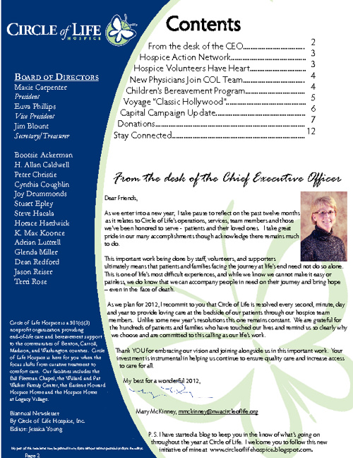 Circle of Life Hospice Winter/Spring Newsletter 2012