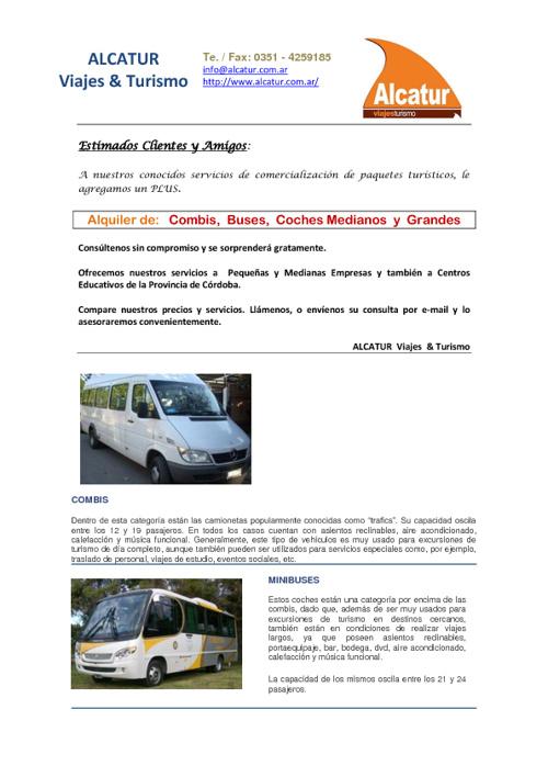 ALCATUR Viajes y Turismo - Alquiler de Transporte Masivo