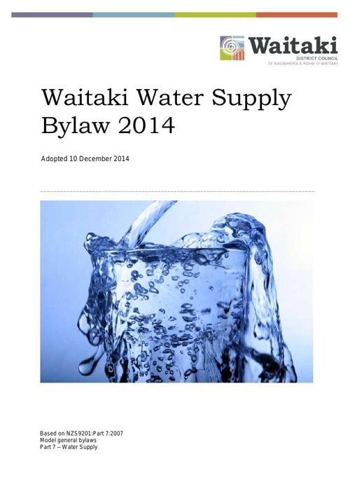 Water Supply Bylaw 2014