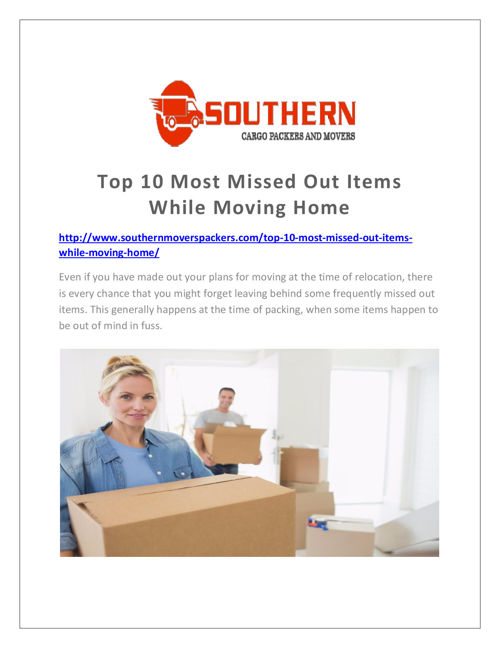 Top 10 Most Missed Out Items While Moving Home