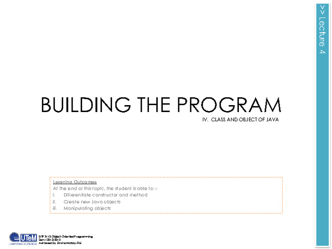 Lecture 4 Building The Program