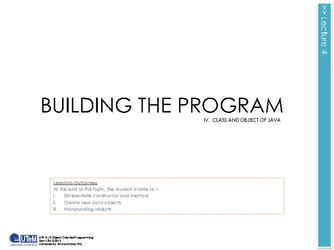 Lecture 4 Building The Program