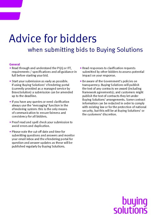 Tips for Bidders
