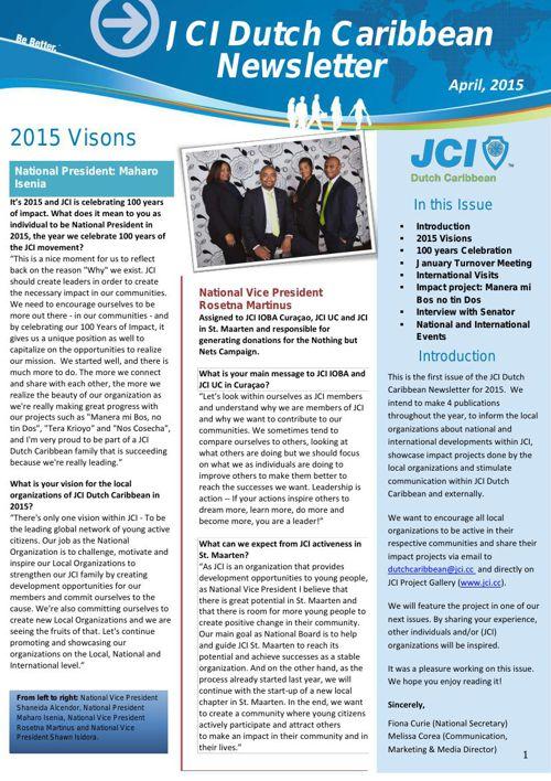 JCI Dutch Caribbean Newsletter, April 2015