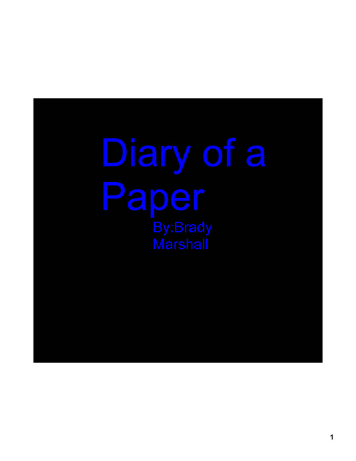 Diary of a Paper
