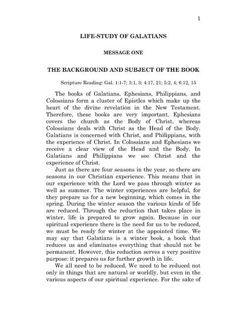 Life Study of Galatians