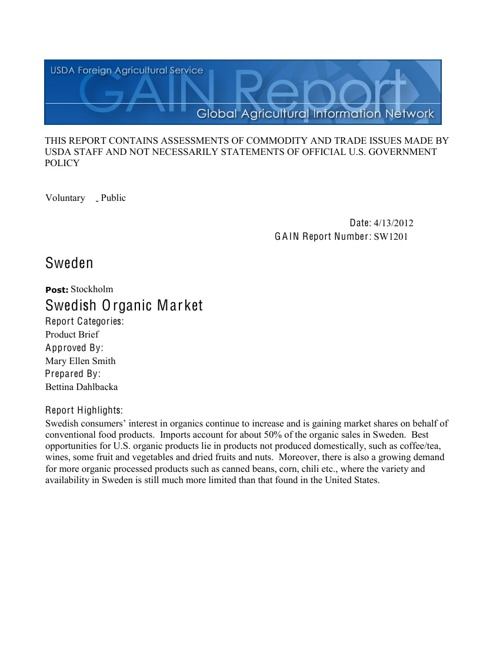USDA - Swedish Organic Market Report 2013