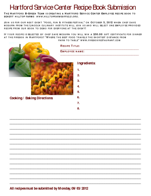 Bombardier Hartford Service Center Recipe Book