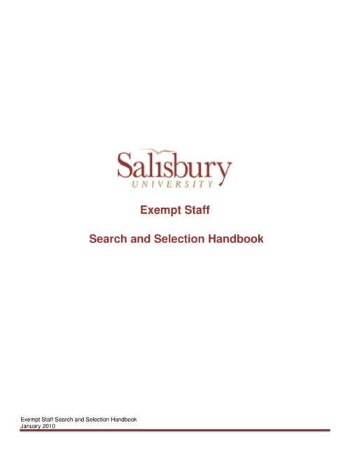 Exempt Staff Search and Selection Handbook