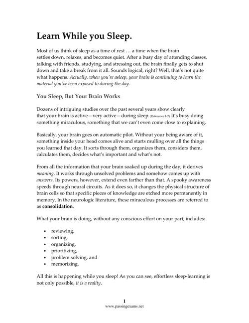 LearnWhileYou Sleep - Prepare for and Pass Exams
