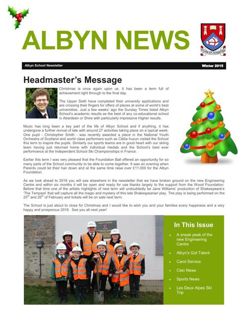 Albyn School Newsletter Winter 2015