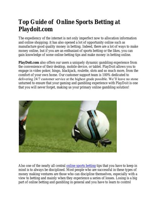 Top Guide Of Online Sports Betting at Playdoit