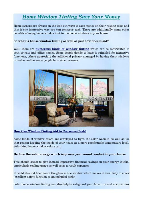 Home window Tinting Save Your Money