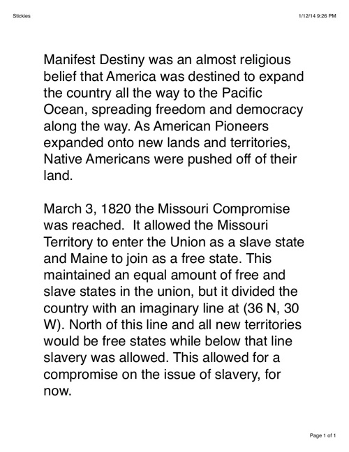 Manifest Destiny and Missouri Compromise