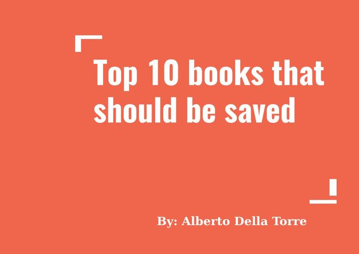 10 books that should be saved