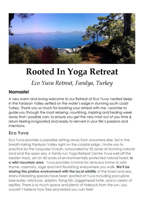 Rooted In Yoga Retreat August 2017