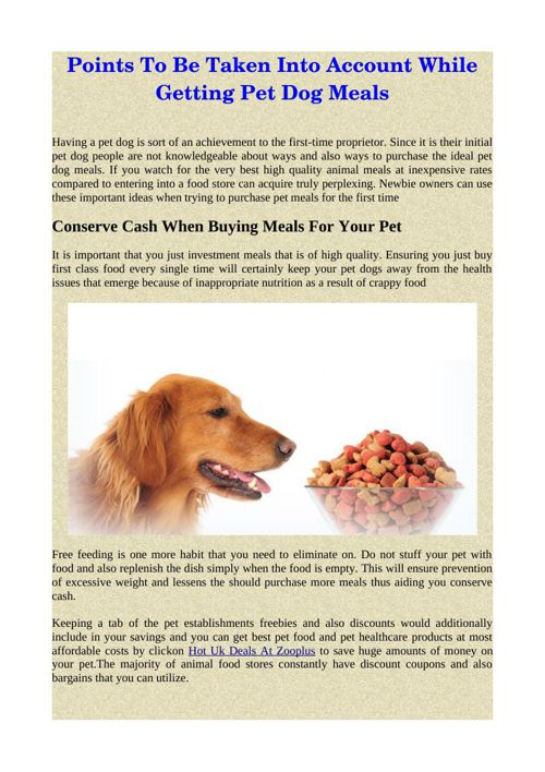 Points To Be Taken Into Account While Getting Pet Dog Meals