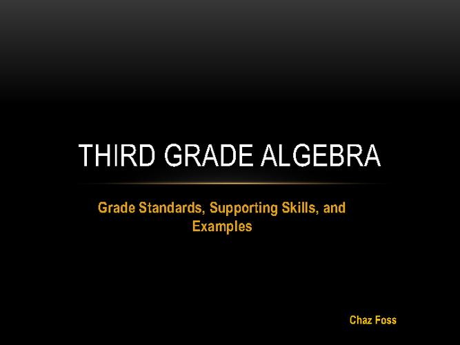 Third Grade Algebra