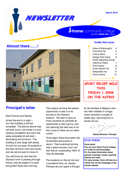 Frome College Newsletter