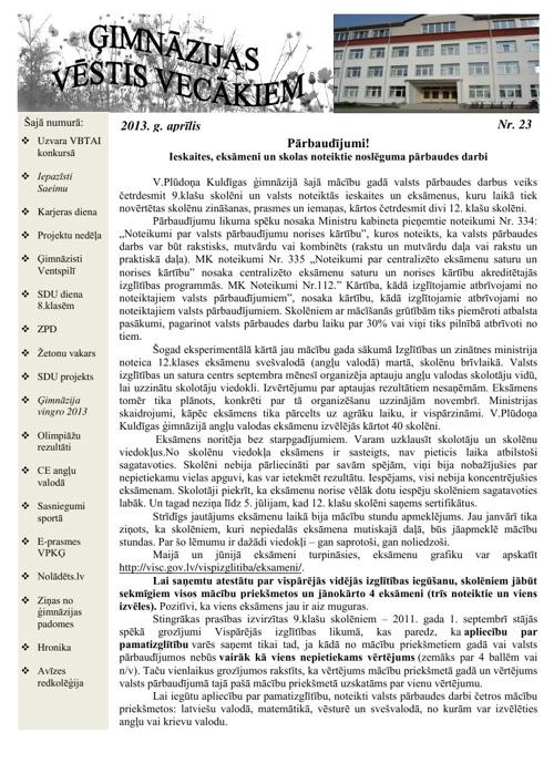 Ģimnāzijas Vēstis Vecākiem 04.2013.