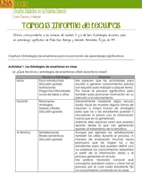 Tarea 13 Informe de Lecturas