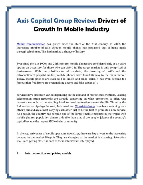 Axis Capital Group Review: Drivers of Growth in Mobile Industry