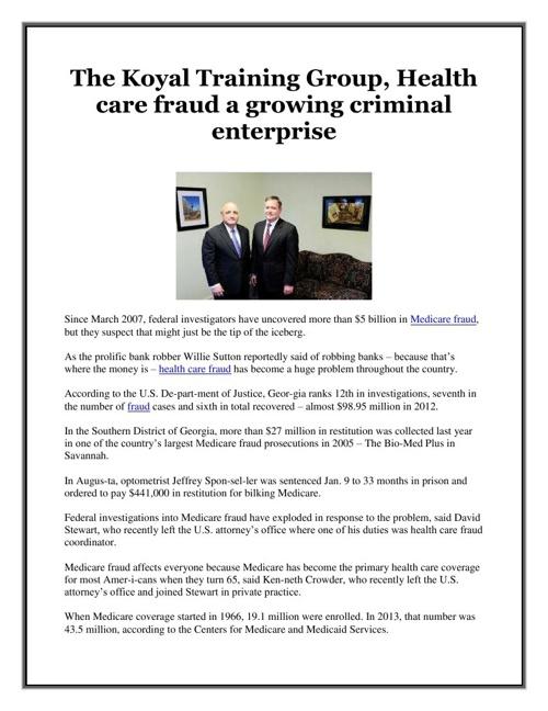 The Koyal Training Group, Health care fraud a growing criminal e