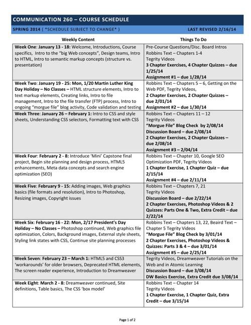 Comm 260 - Spring 2014 Schedule
