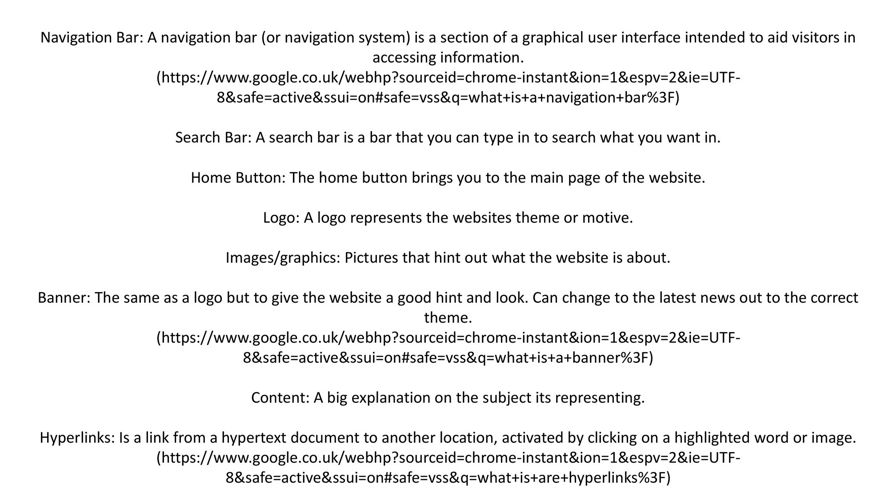 Elements of a webpage