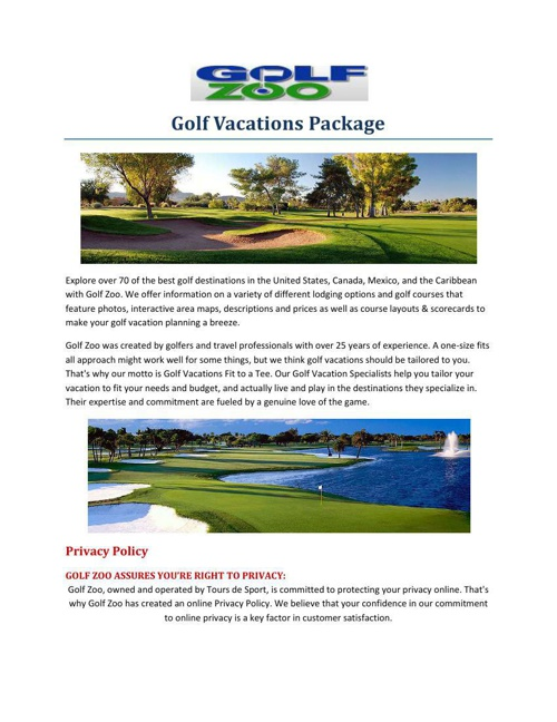 Golf Vacations Package