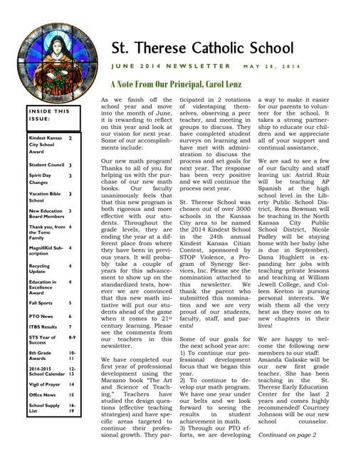 June 2014 Newsletter Attachments