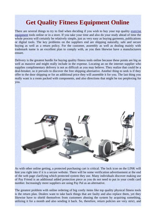 Get Quality Fitness Equipment Online