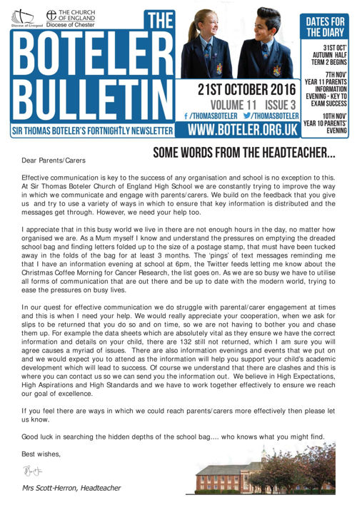Boteler Bulletin 21st October 2016