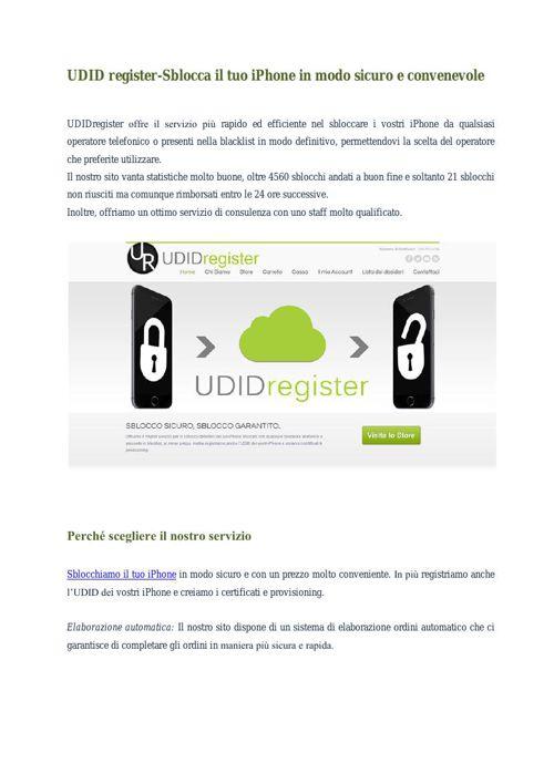 UDID Register - Sblocca il tuo iPhone in modo sicuro e convenevo