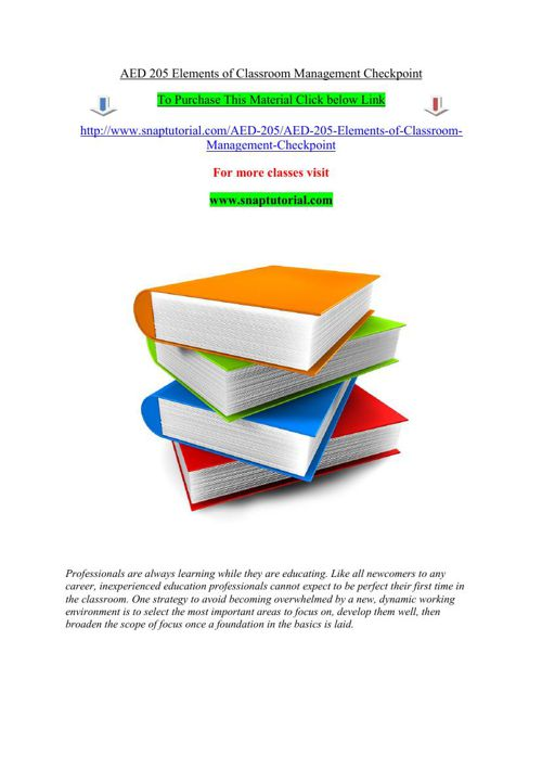 AED 205 Elements of Classroom Management Checkpoint
