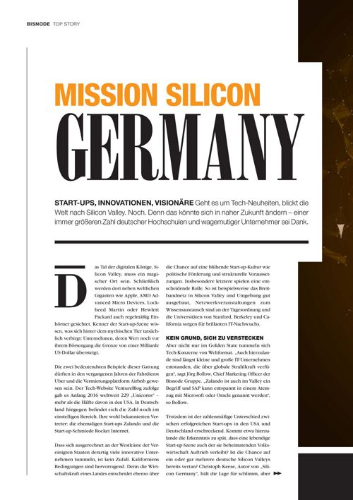 Bisnode TREND+ Ausgabe 4 - Mission Silicon Germany