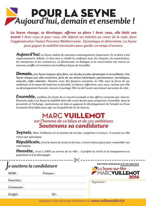 Soutien à la candidature de Marc Vuillemot