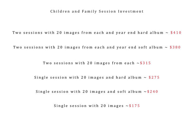 Amanda Moses Photography Price List