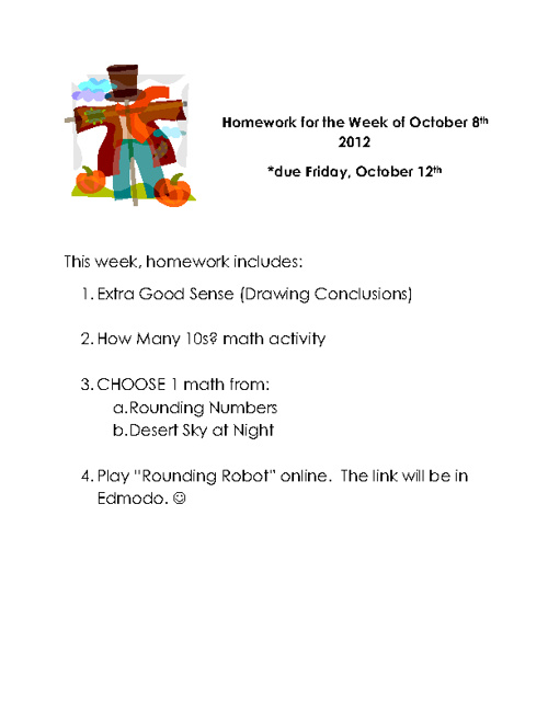 Homework materials for the week of October 8th