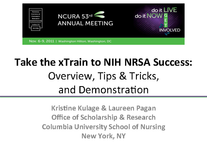 Take the X-Train to NIH NRSA Success