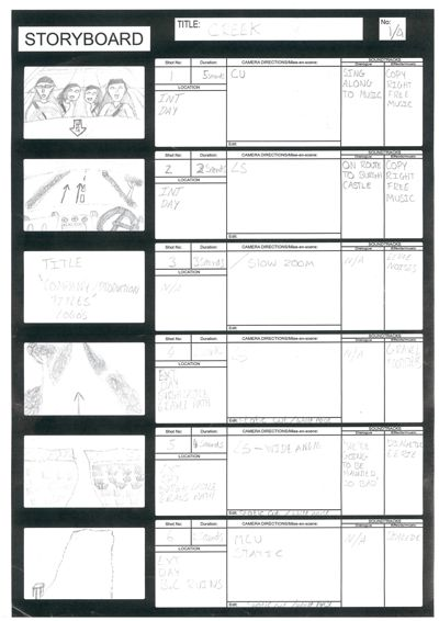 'The Creek' A2 Media Storyboards