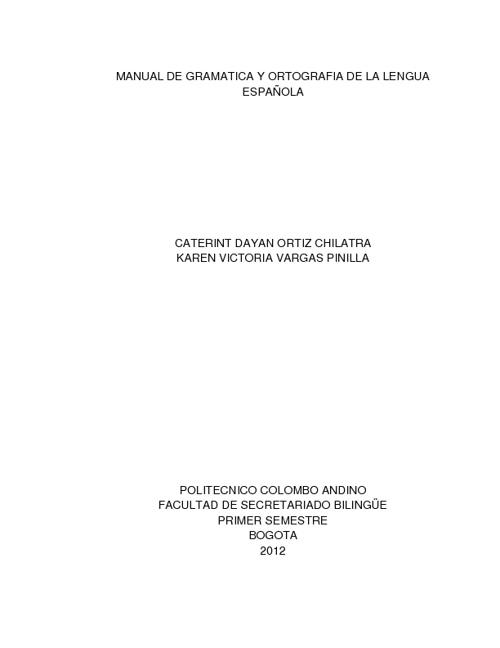 MANUAL DE GRAMÁTICA Y ORTOGRAFÍA DE LA LENGUA ESPAÑOLA