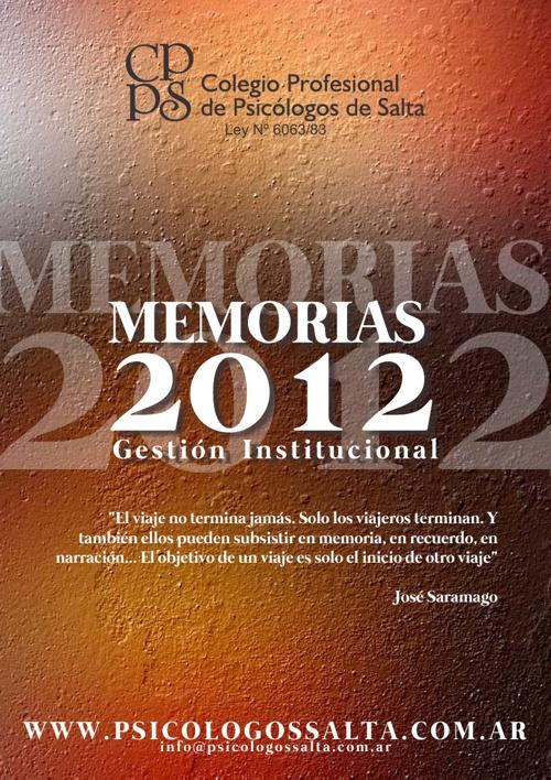Memorias 2012 Colegio Profesional de Psicólogos de Salta