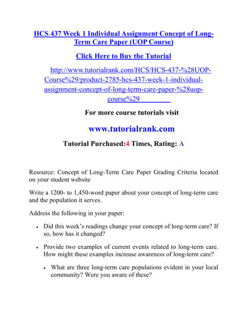 HCS 437 Course Career Path Begins / tutorialrank.com