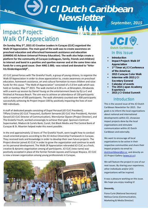 JCI Dutch Caribbean Newsletter September 2015