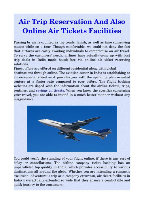 Air Trip Reservation And Also Online Air Tickets Facilities