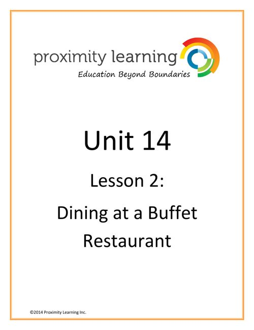 CHN 3 Unit 14 Lesson 2: Dinning at a Buffet Restaurant