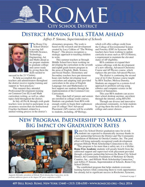 Rome City School District Newsletter Fall 2014