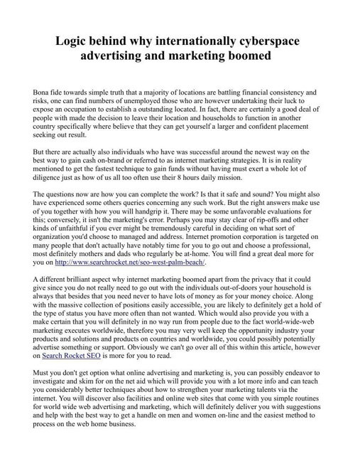 Logic behind why internationally cyberspace advertising and mark
